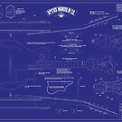 Apitius Mandolin Blueprint Poster - Blue Background by ApitiusMandos