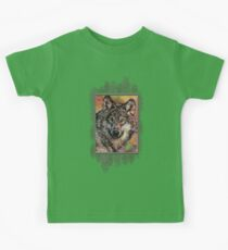 Portrait of a Gray Wolf Kids Tee