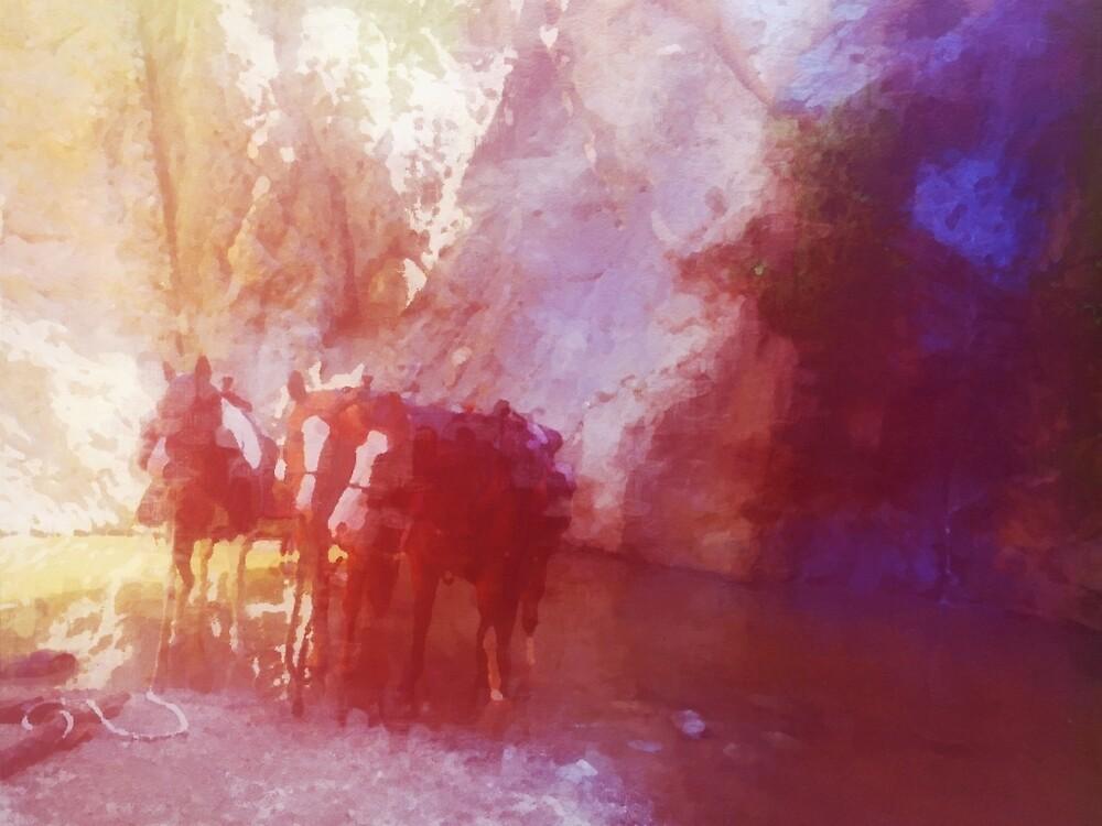 3 Horses in a Waterfall by amberjene
