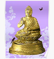 Buddha on light purple Poster