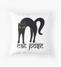 Cat Pose 1 - Cat Yoga (black text) Throw Pillow