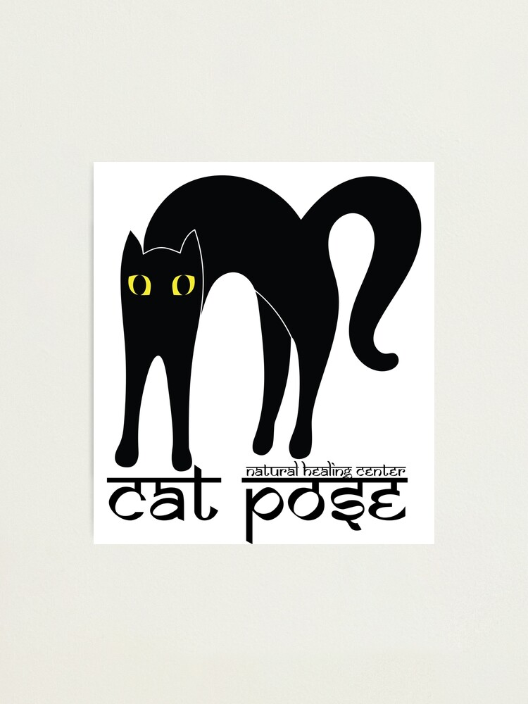 Alternate view of Cat Pose 1 - Cat Yoga (black text) Photographic Print