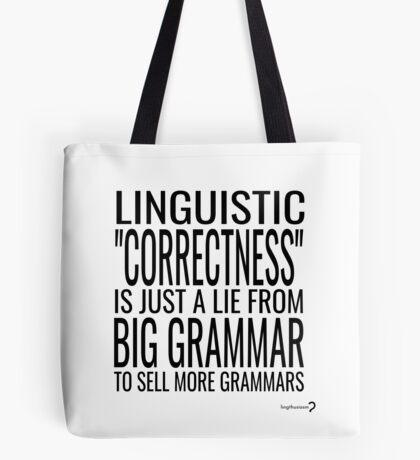 Big Grammar Tote - Black and White Tote Bag