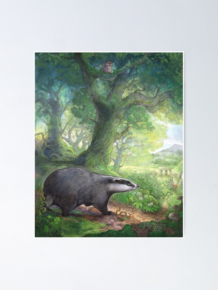 Alternate view of Badger in the woods Poster