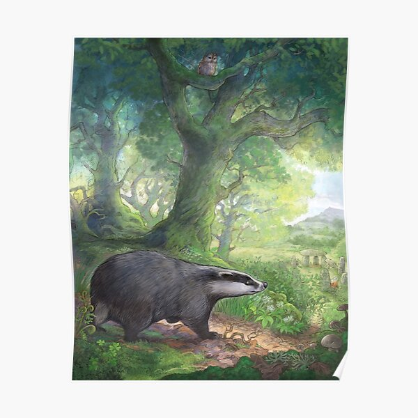 Badger in the woods Poster