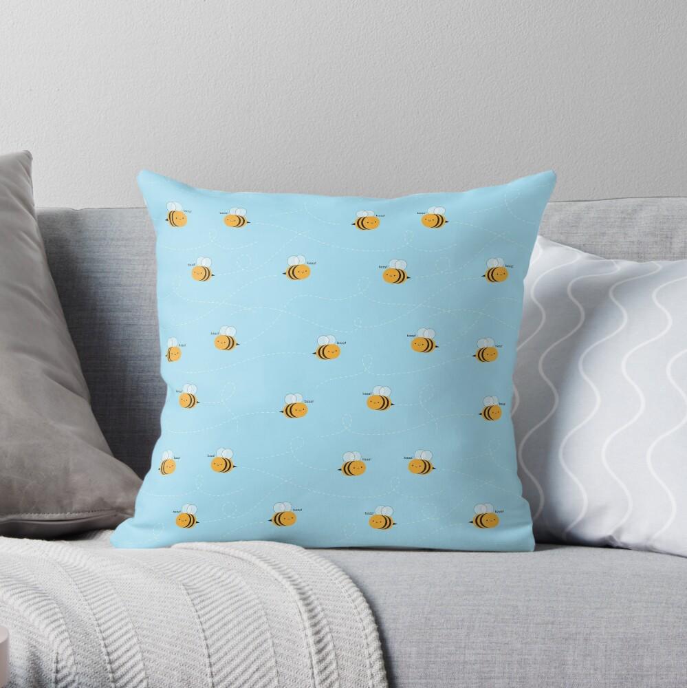 Kawaii Buzzy Bumble Bees Throw Pillow