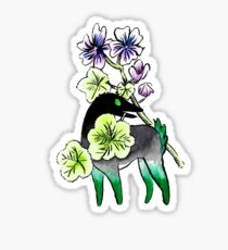 Creepy Deer and Mallow Flower Sticker