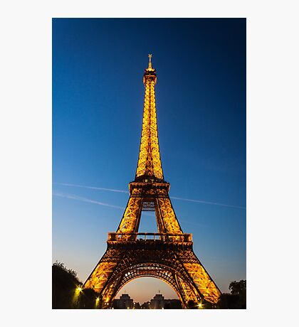 Eiffel Tower and sunset Photographic Print