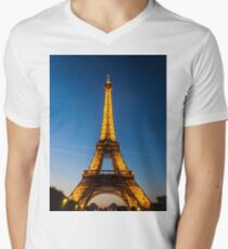 Eiffel Tower and sunset Mens V-Neck T-Shirt