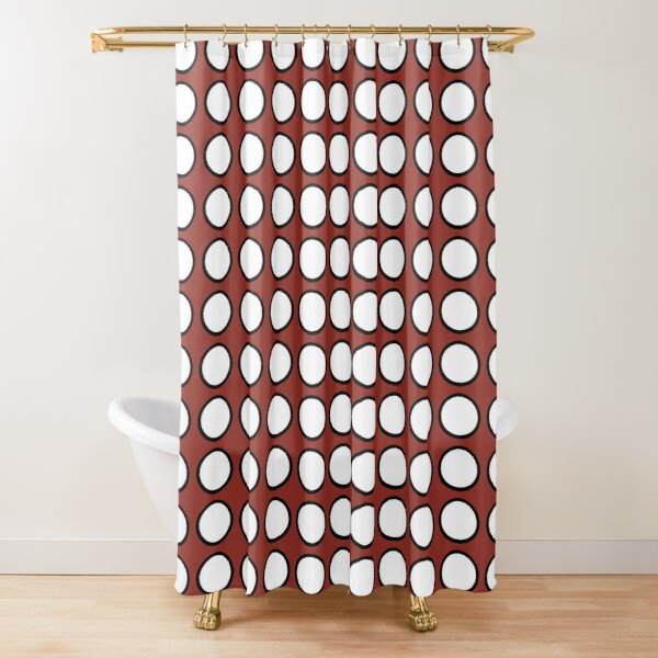 Wine-red background with white dot Shower Curtain