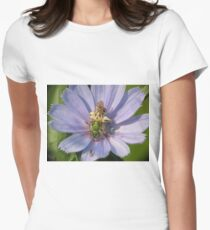 Green Metalic Bee and A Wee Friend on Chickory Flower Women's Fitted T-Shirt