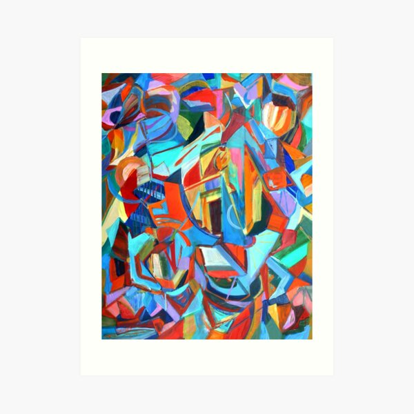 Portal, acrylic geometric abstract expressionist painting by Pamela Parsons. Art Print