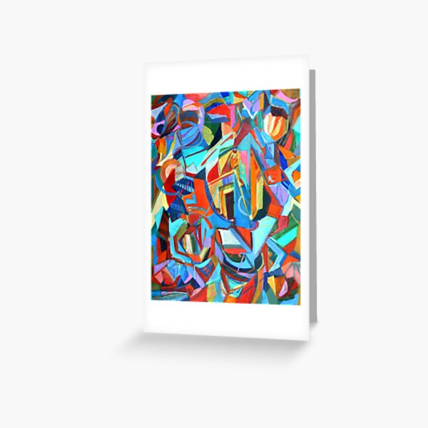 Portal, acrylic geometric abstract expressionist painting by Pamela Parsons. Greeting Card