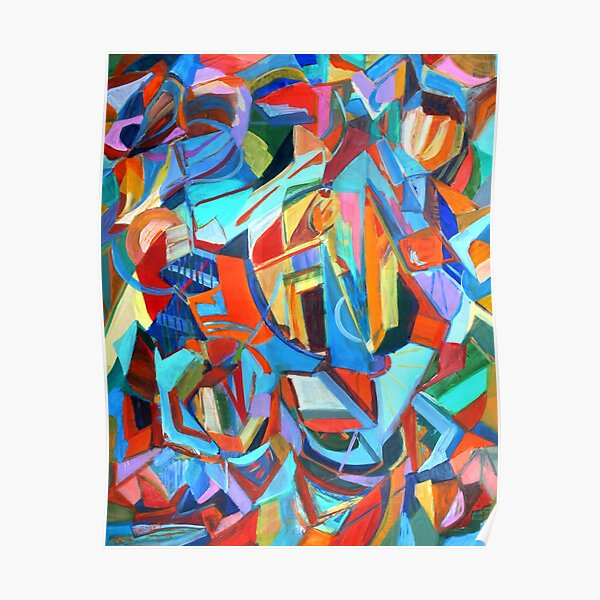 Portal, acrylic geometric abstract expressionist painting by Pamela Parsons. Poster