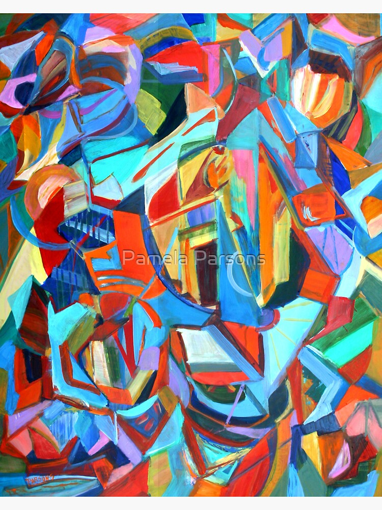 Portal, acrylic geometric abstract expressionist painting by Pamela Parsons. by parsonsp