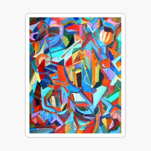 Portal, acrylic geometric abstract expressionist painting by Pamela Parsons. Sticker