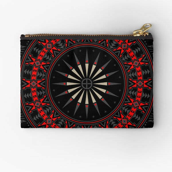 Buffalo Skull and Feathers (Red) Zipper Pouch