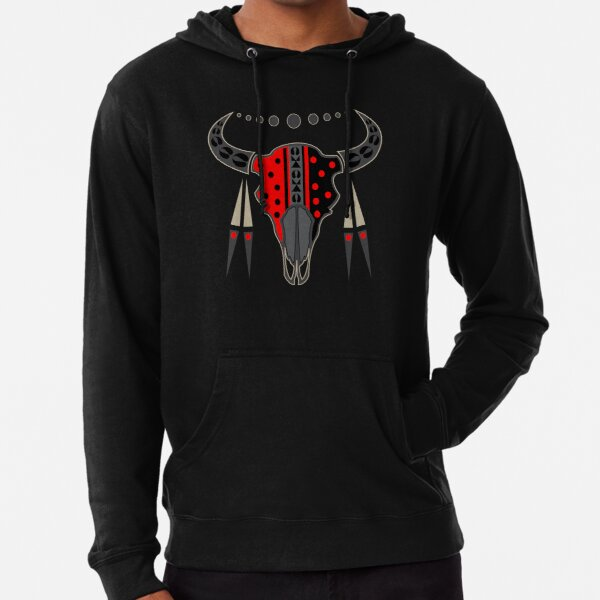 Buffalo Skull and Feathers (Red) Lightweight Hoodie