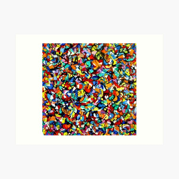 Off the Edge: Ordered Chaos. Abstract expressionist acrylic square painting by Pamela Parsons Art Print