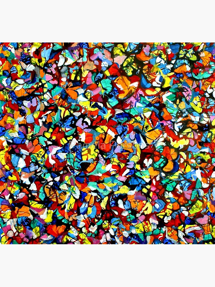 Off the Edge: Ordered Chaos. Abstract expressionist acrylic square painting by Pamela Parsons by parsonsp