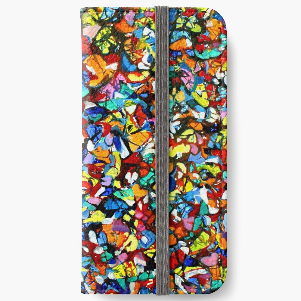 Off the Edge: Ordered Chaos. Abstract expressionist acrylic square painting by Pamela Parsons iPhone Wallet