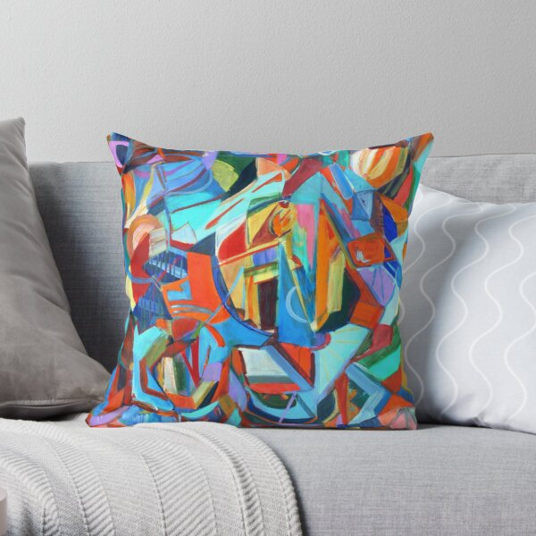Portal, acrylic geometric abstract expressionist painting by Pamela Parsons. Throw Pillow
