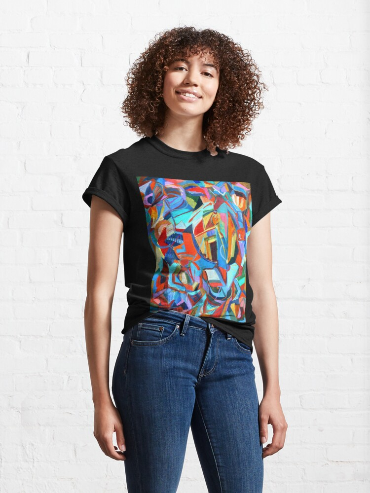 Alternate view of Portal, acrylic geometric abstract expressionist painting by Pamela Parsons. Classic T-Shirt