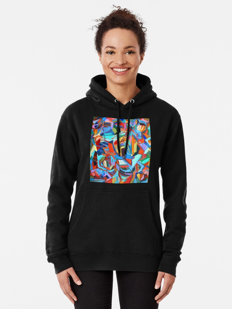 Alternate view of Portal, acrylic geometric abstract expressionist painting by Pamela Parsons. Pullover Hoodie