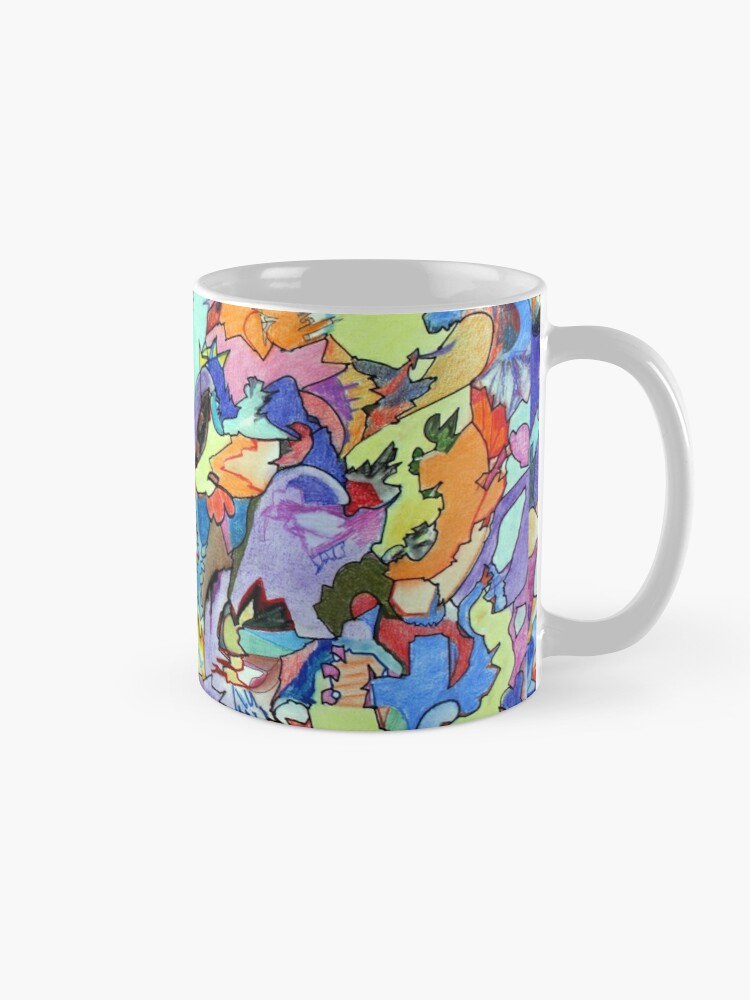 Alternate view of Above the Crowd. Colored pencil, marker and pastel abstract expressionist painting by Pamela Parsons Mug