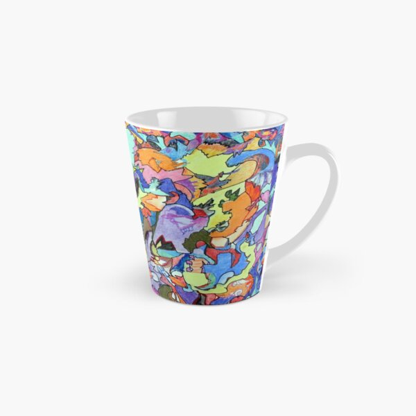 Above the Crowd. Colored pencil, marker and pastel abstract expressionist painting by Pamela Parsons Tall Mug