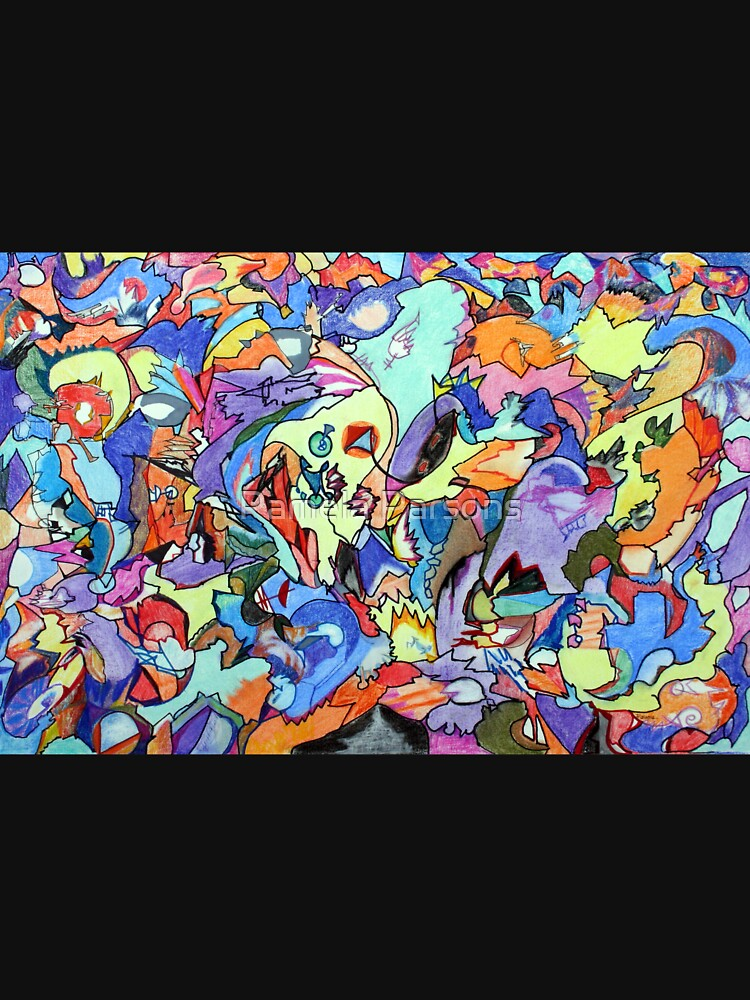 Above the Crowd. Colored pencil, marker and pastel abstract expressionist painting by Pamela Parsons by parsonsp