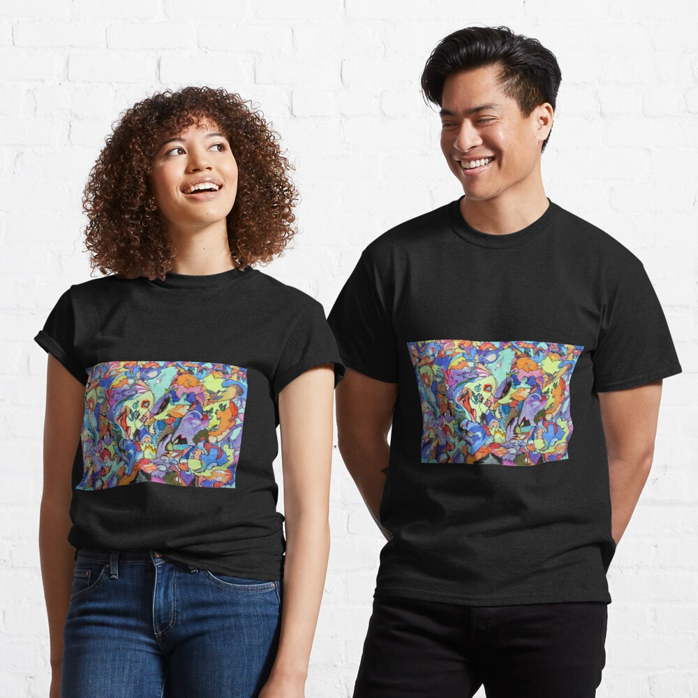 Above the Crowd. Colored pencil, marker and pastel abstract expressionist painting by Pamela Parsons Classic T-Shirt