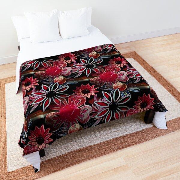 Vintage Floral Pink and Black Comforter
