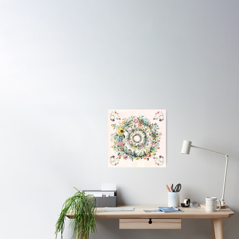 Circle of life-floral painting Poster
