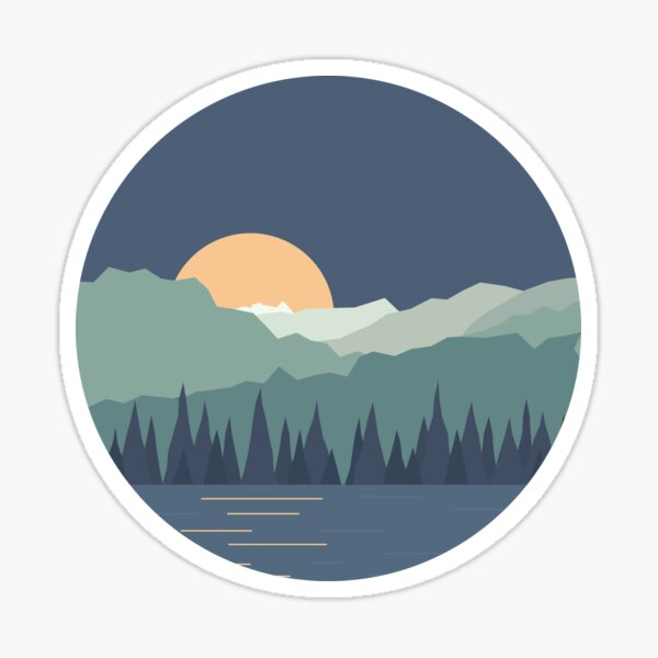 Moonlight at the Lake Sticker
