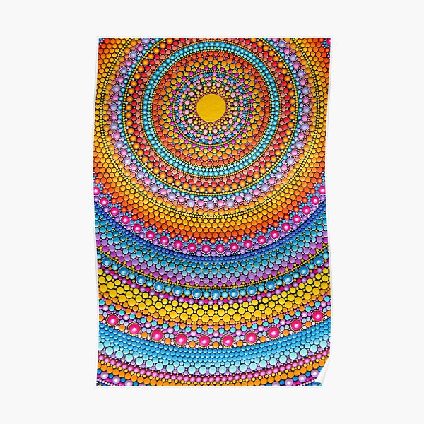 Colorful mandala painting on canvas Poster