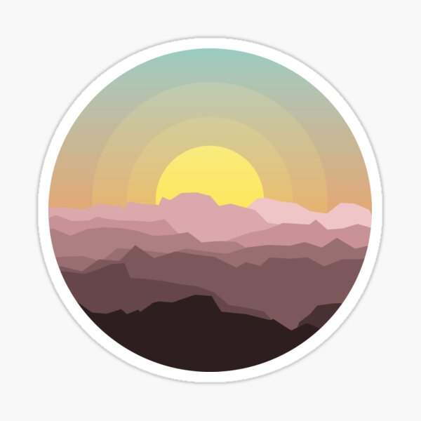 Colourful Mountain Sunset Sticker