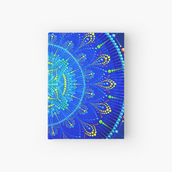 Blue mandala painting on canvas Hardcover Journal