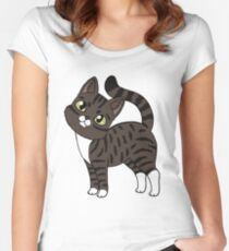 Domestic shorthair (brown tabby tuxedo) Fitted Scoop T-Shirt