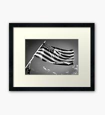 American Flag in Black and White Framed Print