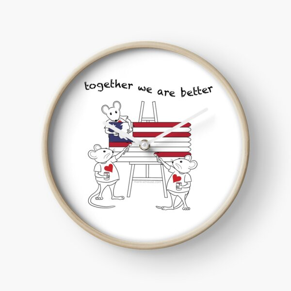 MantraMouse® American Flag Together Cartoon Clock