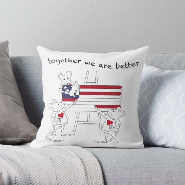 MantraMouse® American Flag Together Cartoon Throw Pillow