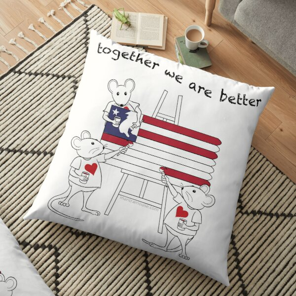 MantraMouse® American Flag Together Cartoon Floor Pillow