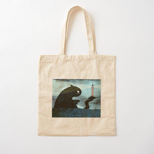 Sea monster & Lighthouse Cotton Tote Bag