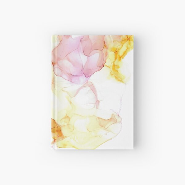 Wispy Pink and Yellow: Original Alcohol Ink Painting Hardcover Journal