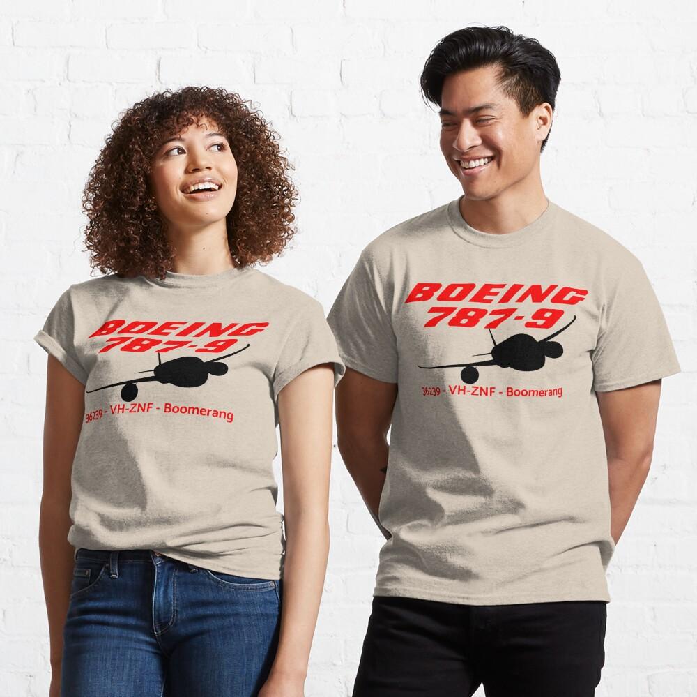 Boeing 787-9 36239 VH-ZNF (Black Print) Classic T-Shirt