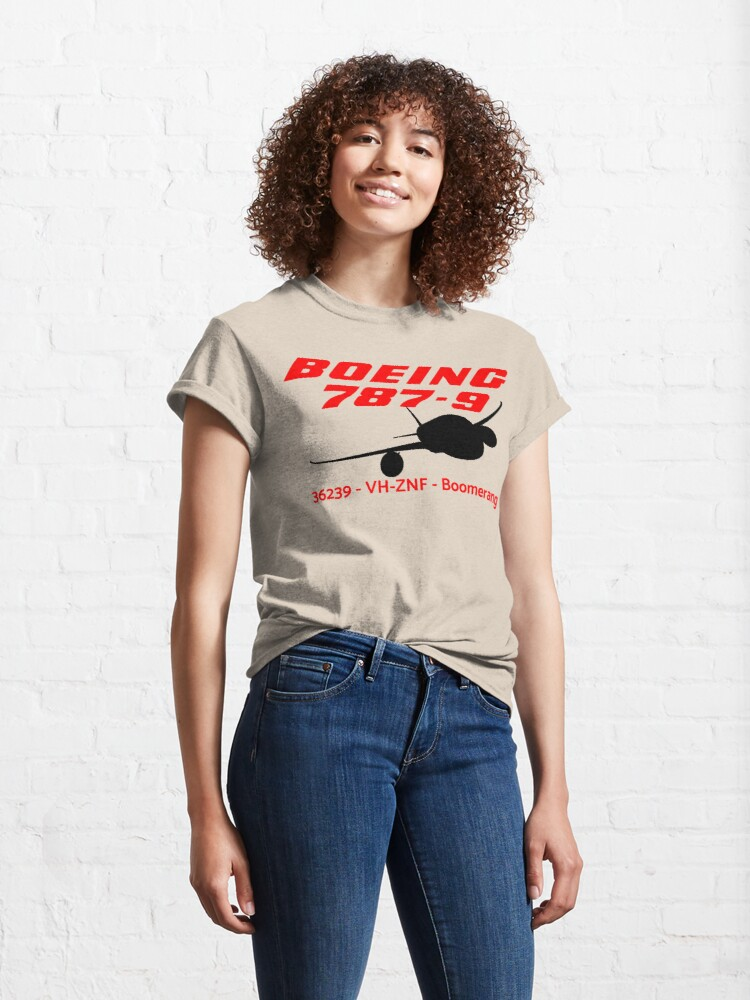 Alternate view of Boeing 787-9 36239 VH-ZNF (Black Print) Classic T-Shirt