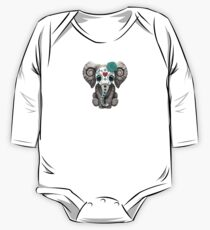 Teal Blue Day of the Dead Sugar Skull Baby Elephant One Piece - Long Sleeve
