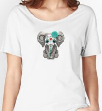 Teal Blue Day of the Dead Sugar Skull Baby Elephant Women's Relaxed Fit T-Shirt