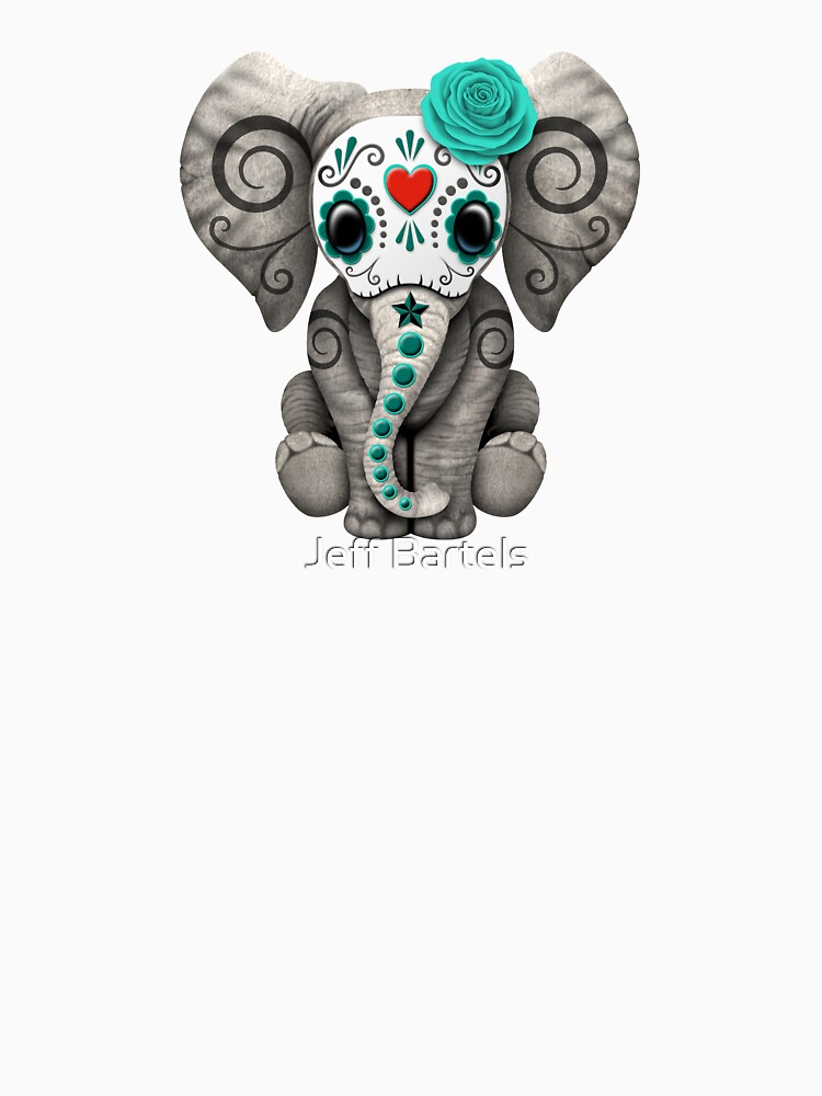 Teal Blue Day of the Dead Sugar Skull Baby Elephant by JeffBartels